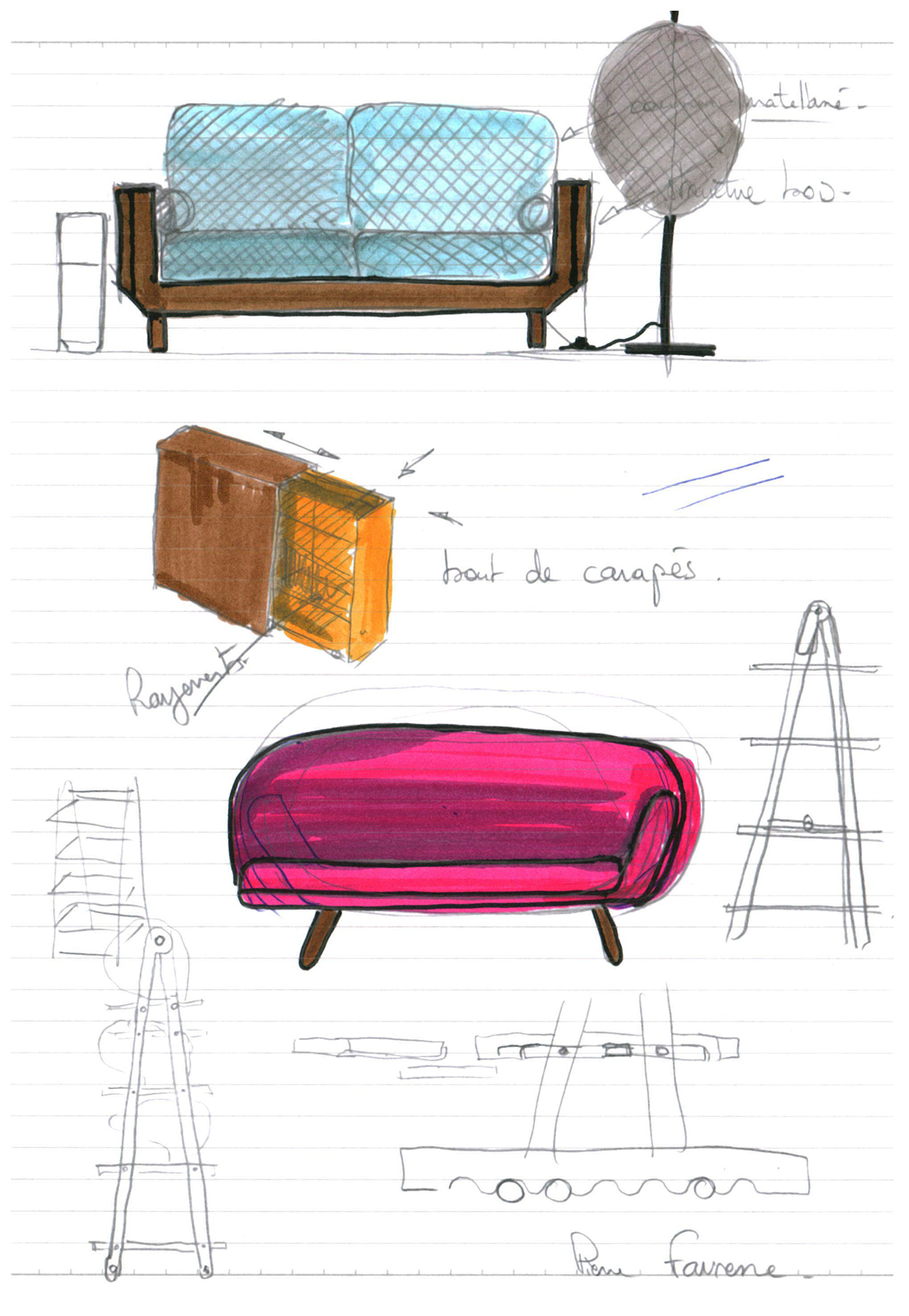 Pierre Favresse - Drawing - Work - Designer - Design - Preparatory sketch n°9