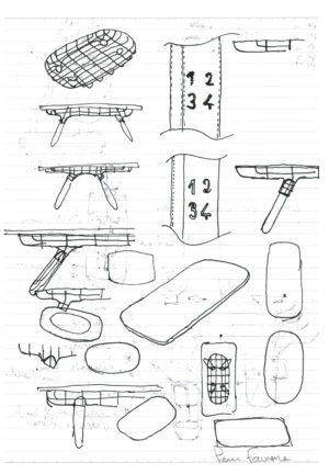 Pierre Favresse - Dessin - Oeuvre - Designer - Design - Croquis préparatoire n°4 recto verso